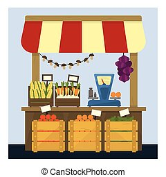 Market Stand With Fresh Vegetables Flat Simple Colorful...