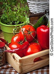 Vegetables in a wooden box. - Vegetables from the home...