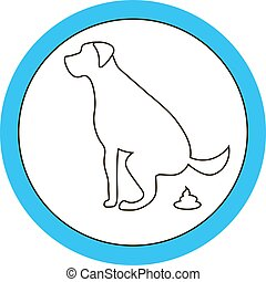 Dog pooping sign white silhouette on blue background...