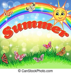 bright cartoon illustration of a smiling sun in the sky Rainbow and summer meadow with butterflies