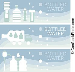 Set of banners for theme bottled water flat design. Vector illustration