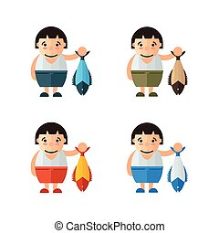 cute vector woman and fish
