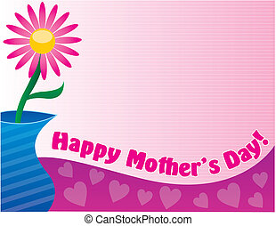 Happy Mother\\\'s Day - Pink Daisy in blue vase. Happy...