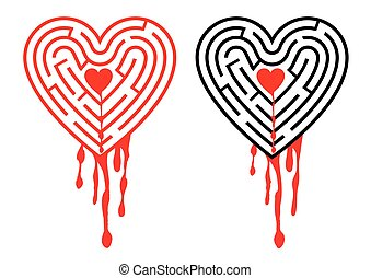 Bleeding heart - The labyrinth in the shape of heart with...