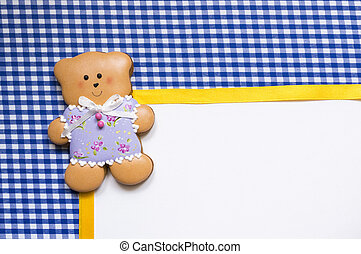 Background with a honey-cake bear - A cute vichy background...