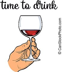 Hand holding a glass of red wine, vector sketch drawn by...