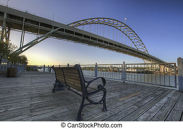 Park Bench Under the Fremont Bridge - Park Bench under the...