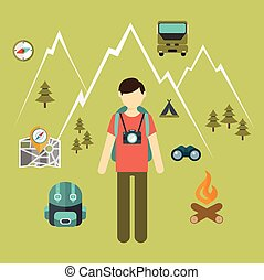 Mountain hiking, nature turist and climbing vector info graphic
