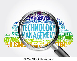 Technology Management word cloud with magnifying glass,...