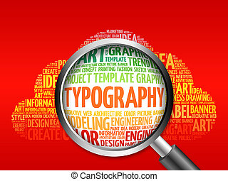 TYPOGRAPHY word cloud with magnifying glass, business...