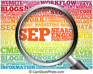 SEP (search engine positioning) word cloud with magnifying...