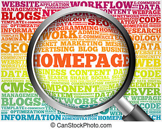 Homepage word cloud with magnifying glass, business concept