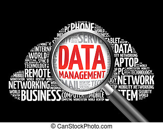 Data Management word cloud with magnifying glass, business...