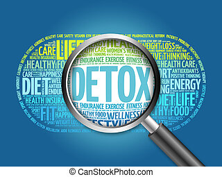 DETOX word cloud with magnifying glass, health concept