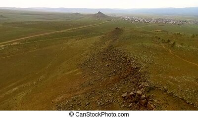 Flight to quadrocopters aerial view near Ulan-Ude, Republic...