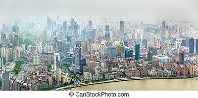 Aerial panorama of Shanghai city centre