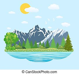 Natural landscape in the flat style.
