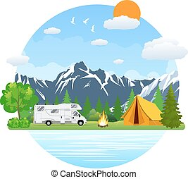 Forest camping landscape with rv traveler bus in flat...