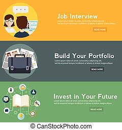 Job interview, portfolio and future investment web banner. vector illustration in a flat style.