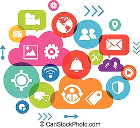 Social media concept. Communication in the global computer networks