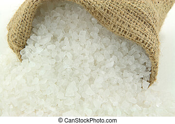 Rock crushed Salt close view. - Close up picture of Spilled...