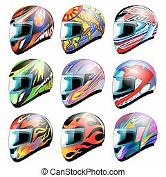 Set of vector racing helmet isolated on white