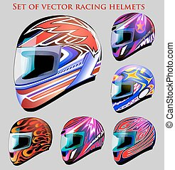Illustration set of beautiful vector racing helmets with...
