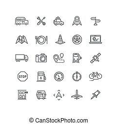 Travel, road traffic and location vector line icons