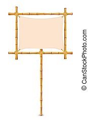 Yellow Bamboo Frame - Bamboo Frame with Cloth Sign Isolated...