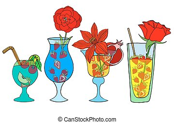 Cocktails and Drink - Set of beautiful illustration of some...
