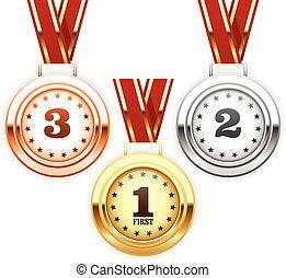 Winner silver, bronze, gold medals