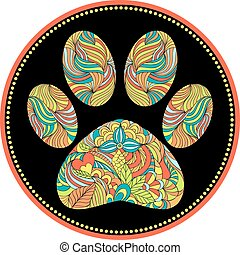 abstract animal paw print - vector illustration of abstract...