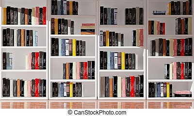 Wall bookcase full of books, 3d rendering