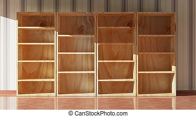 Empty wooden bookcase, 3d rendering