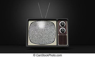Antique TV set with noise on screen, on black background 3D...