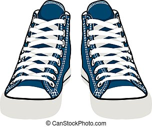 vector isolated cartoon blue sneakers
