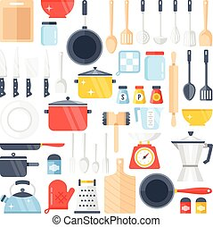 Vector kitchen tools set Kitchenware collection Lots of...