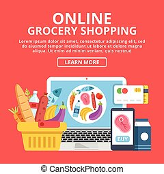 Online grocery shopping web banner