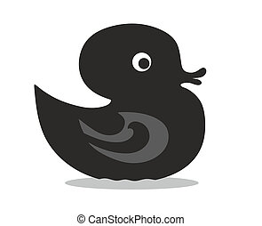 black rubber duck illustration from the side