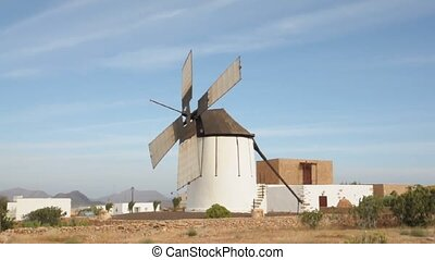 Spanish Windmill - Windmill in Fuerteventura, Canary Islands...