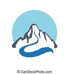 Mountain river, vector logo illustration - Mountain river or...