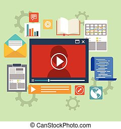 E-learning concept in flat style - digital content and...