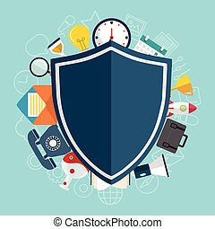 Data protection and safe work. Flat design.