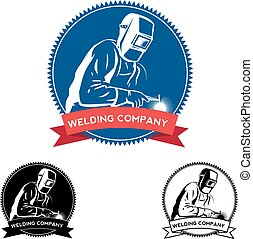 Silhouette of a working welding with a torch. Welding logo Vector