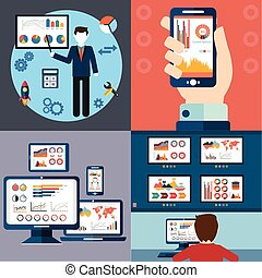 Flat design modern vector illustration icons set of website SEO optimization, programming process and analytics elements. Isolated on stylish colored background