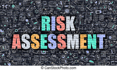 Multicolor Risk Assessment on Dark Brickwall Doodle Style -...
