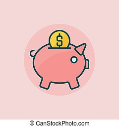 Piggy bank flat icon - vector colorful pig moneybox sign Pig...
