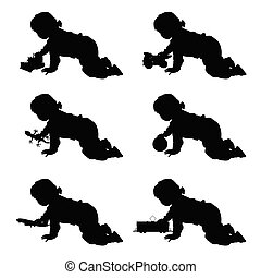 children with toys in various pose illustration