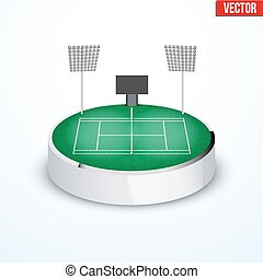 Concept of miniature round tabletop Tennis court In...