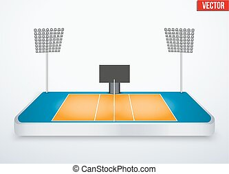 Concept of miniature tabletop volleyball arena. In...